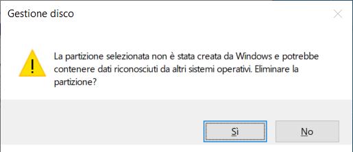 partizione non creata da windows