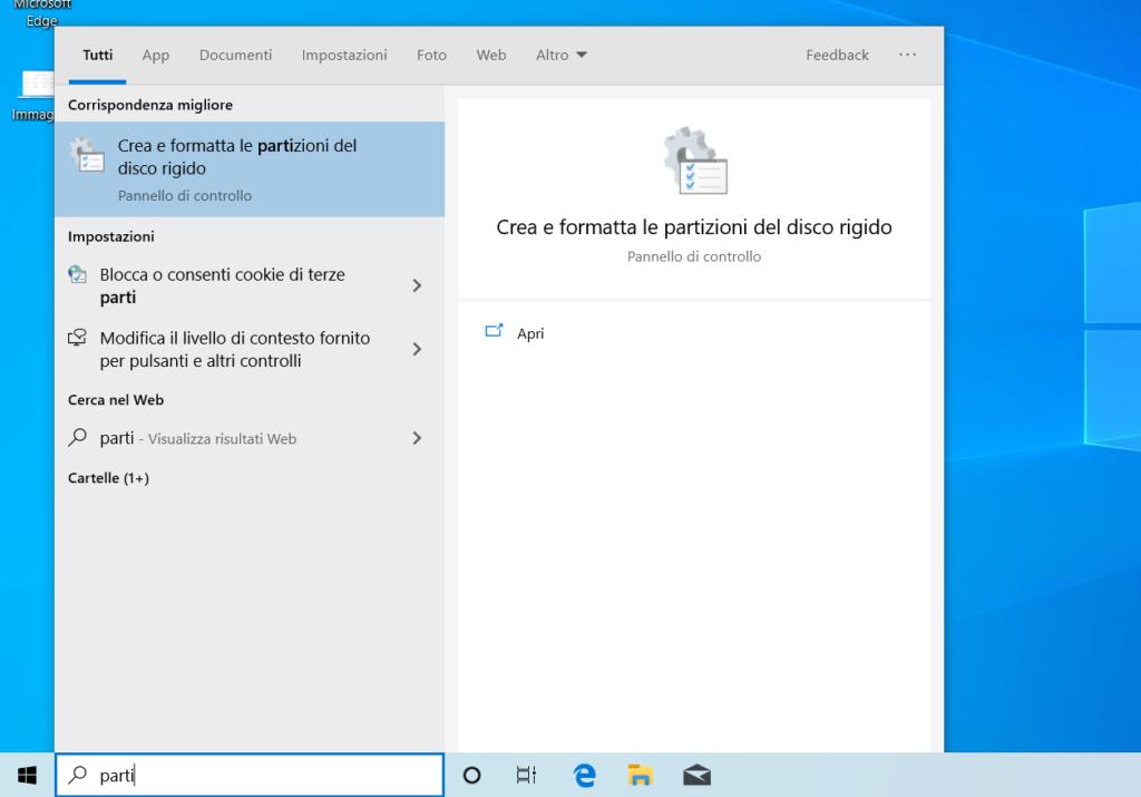 gestione partizioni windows
