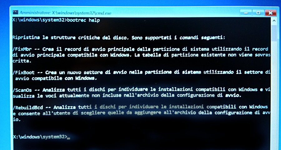 disinstallare linux dual boot: prompt di ripristino Windows