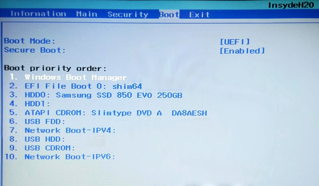 disinstallare linux dual boot: modificare sequenza boot 1