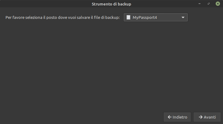 posizione backup Linux Mint