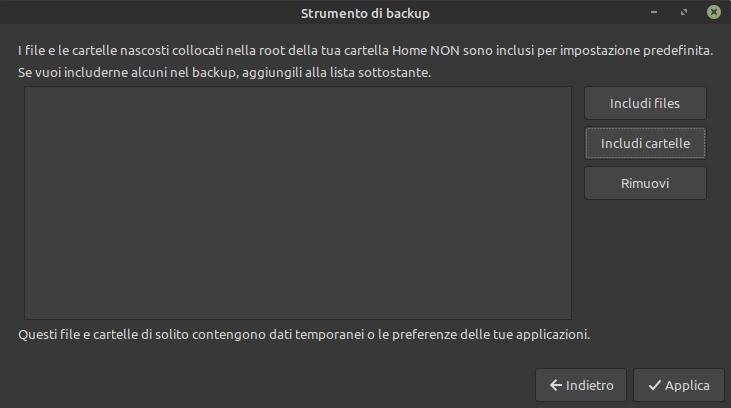 inclusione file nel backup
