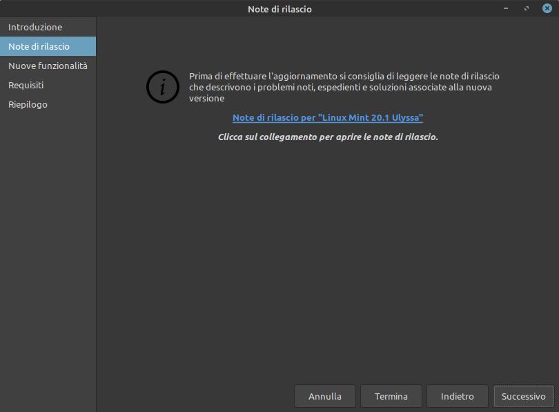 note di rilascio Linux Mint 20.1