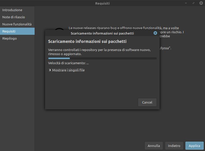 scaricamento aggiornamento a Linux Mint 20.1