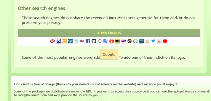 altri motori di ricerca Firefox Linux