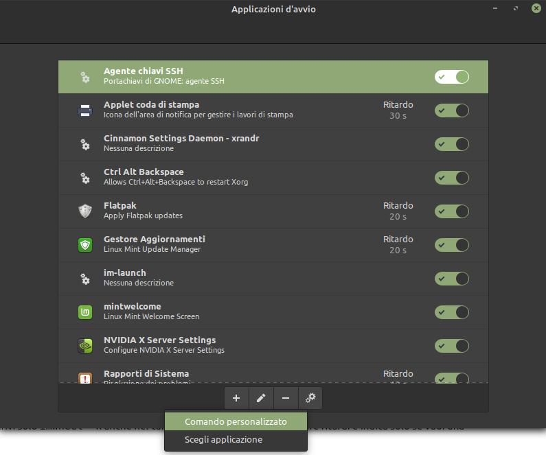 applicazioni avvio automatico linux mint comando personalizzato