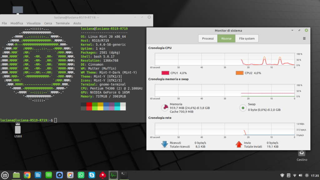 Linux Mint in notebook Samsung