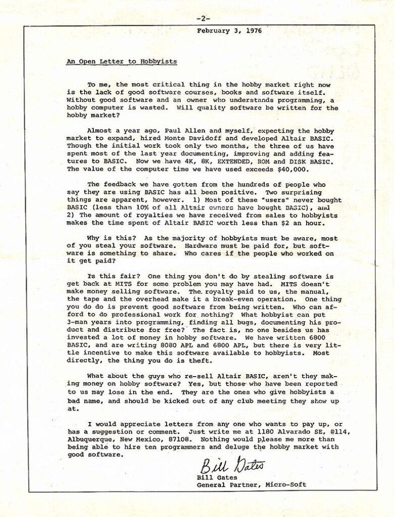 Lettera agli hobbisti Bill Gates 1976
