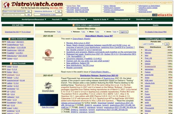 screenshot della homepage di distrowatch