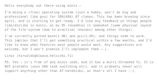 il posto di Linus Torvalds nel 1991 su Linux