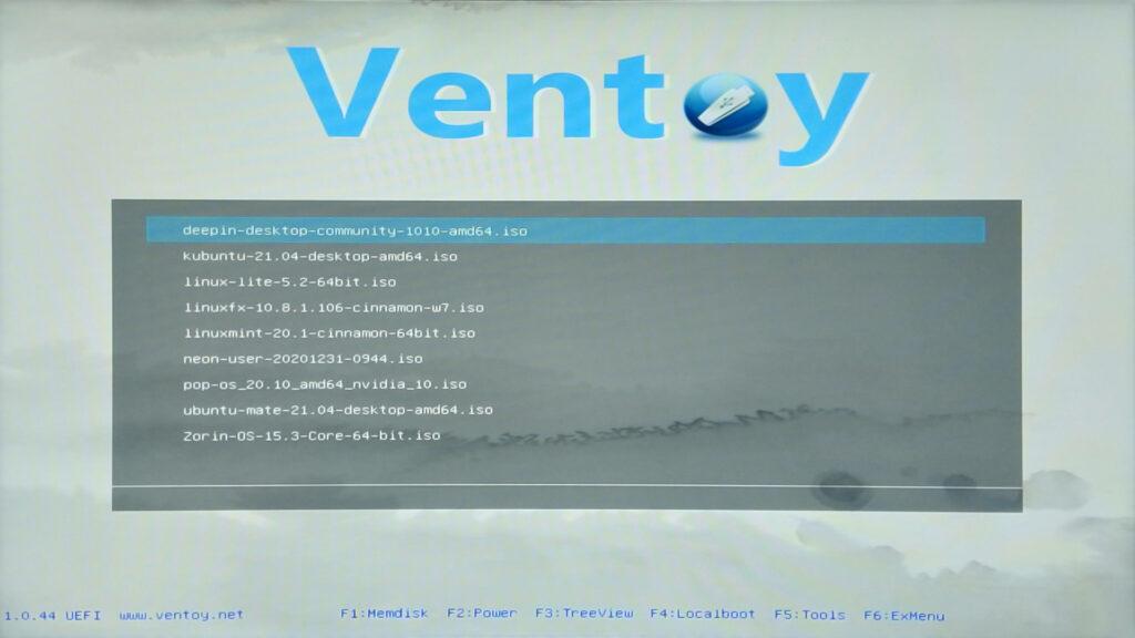 Menu di avvio di chiavetta multiboot con Ventoy