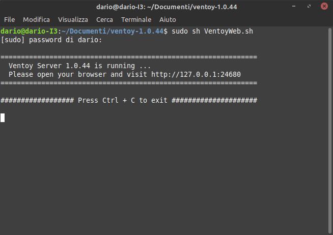 avvio dell'interfaccia web di Ventoy