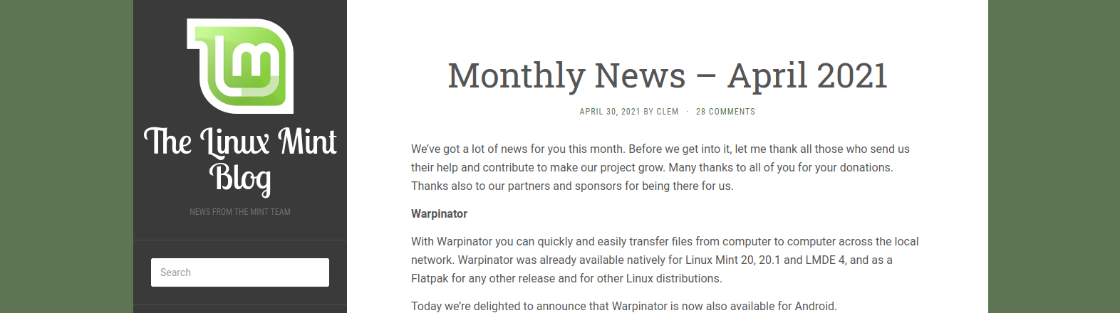 Novità di aprile 2021 su Linux Mint (copertina)