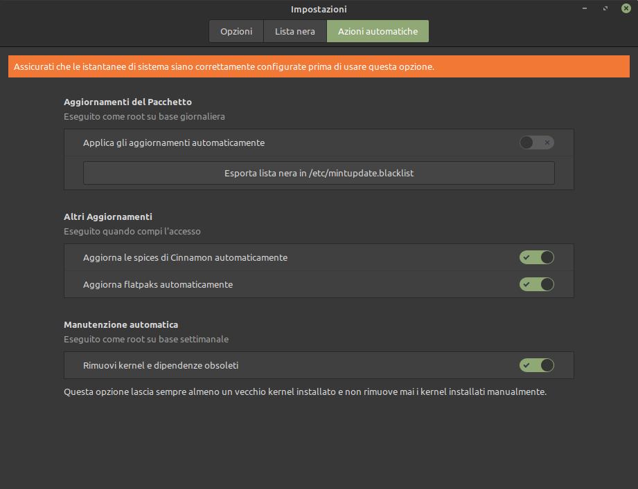 azioni automatiche aggiornamenti Linux Mint 20.2 Uma