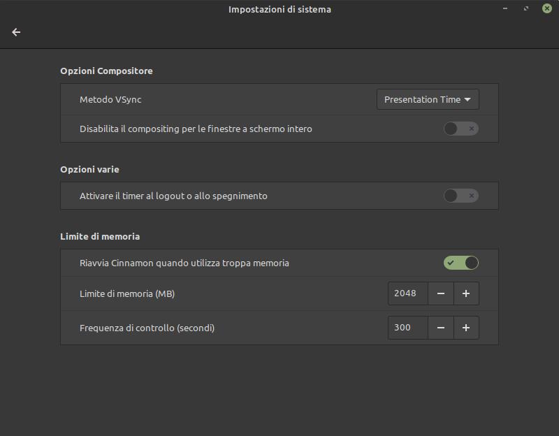 Impostazioni di memoria del desktop Cinnamon in Mint 20.2