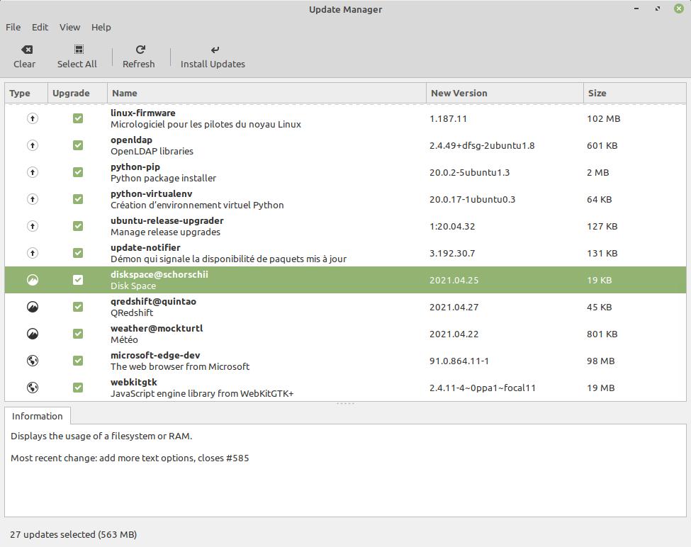 Gestore aggiornamenti di linux Mint 20.2 Uma