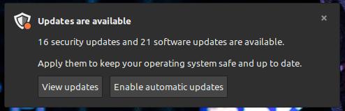 notifiche aggiornamenti Linux Mint 20.2