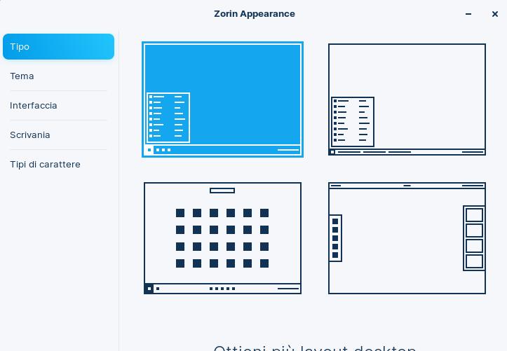 Zorin OS 16 Appearance nella edizione Core