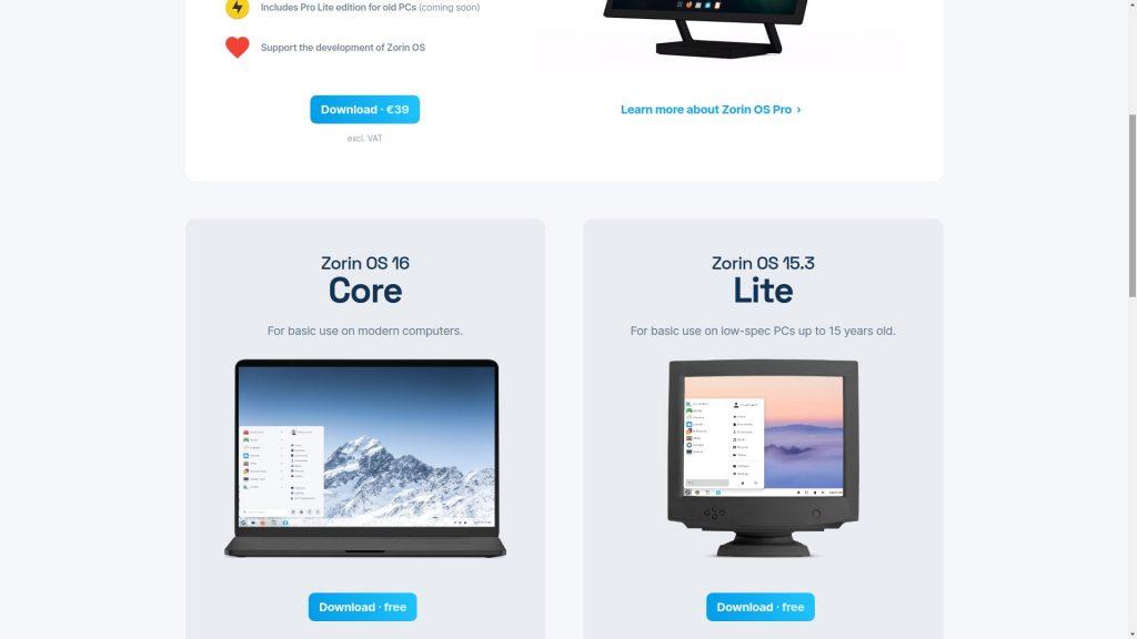 Pagina download di Zorin OS